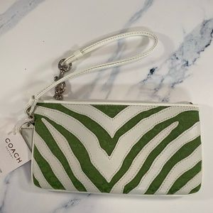 Limited Edition Green/White Zebra Print Wristlet